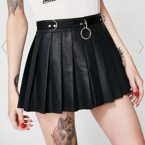 Dolls Kill O-Ring Leather Spade Skirt